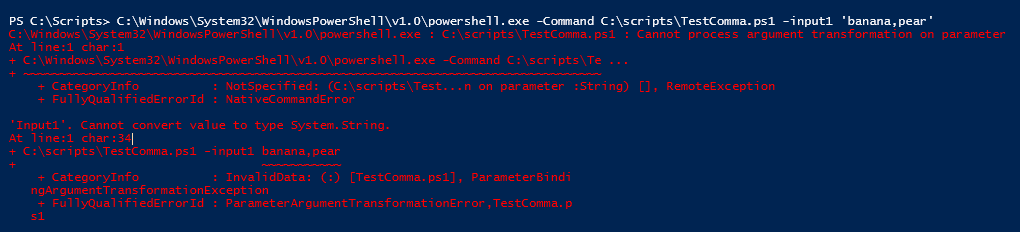 Calling PowerShell exe -Command ScriptName and Parameters with