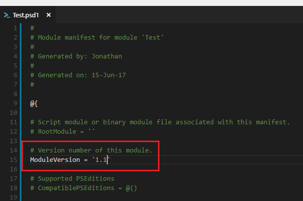 Changes to a PowerShell Module Manifest not viewable in Git